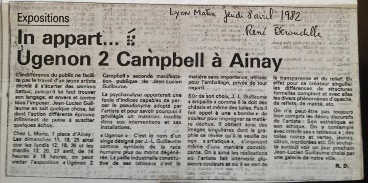 Jean-Lucien Guillaume event : Réné Déroudille, Lyon Matin, 8/4/1982