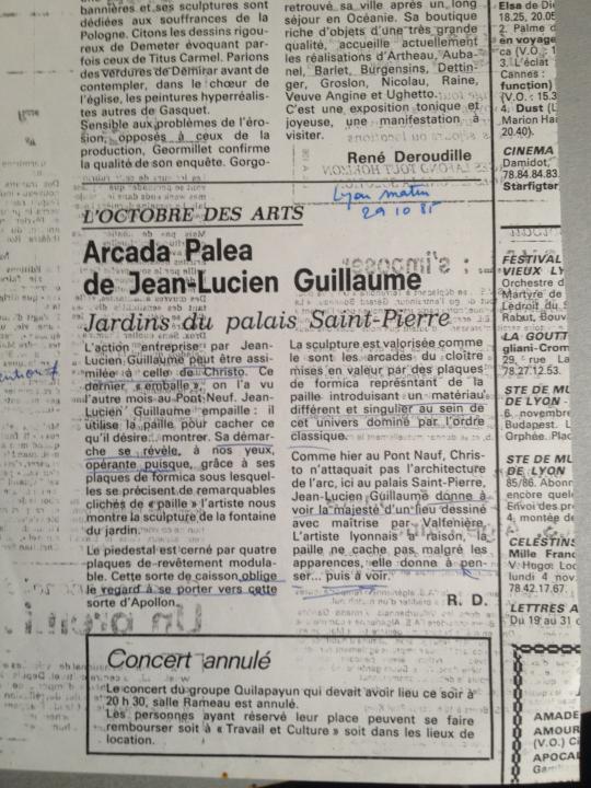 Jean-Lucien Guillaume event : ARCADA PALEA  par René Déroudille